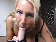 Mature German slut swallowing cum after reverse cowgirl anal