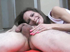 Skinny milf wife giving hubby handjob and prostate massage