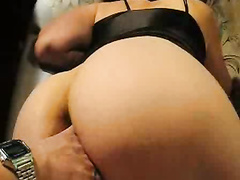 Masturbating chubby milf wife fingered in asshole by hubby