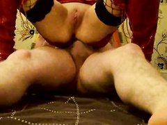 Deep ass fucking in reverse cowgirl for wife in lingerie