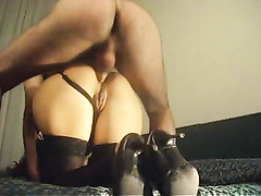 Round ass wife in heels ass fucked hard doggystyle